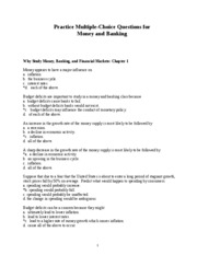 Money and Banking Practice Questions