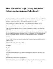 How to Generate High Quality Telephone Sales Appointments and Sales Leads