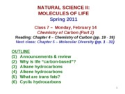 MOL CLASS 7 - Chemistry of Carbon - Part 2 (class notes S11)