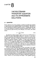 chapter 8 THE BOLTZMANN TRANSPORT EQUATION AND ITS APPROXIAMTE SOLUTIONS