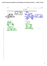 compound inequalities and inequality word problems notes
