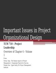 TCM 710 - Chapter 4 Important Issues in Project Organizational Design