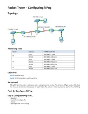 7.3.2.3 Packet Tracer - Configuring RIPng Instructions