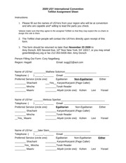 USY IC Tefilot Assignment Sheet