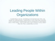 Leading People Within Organizations