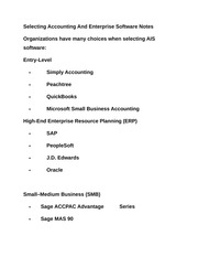 Selecting Accounting And Enterprise Software Notes