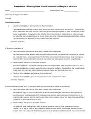 Presentation 1 Planning Sheet Pivotal Moments and People of Influence