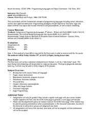 COSC 2P90 Class Note Course Information On Comparative Programming
