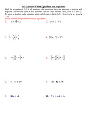 1.6 Absolute Value Equations & Inequalities