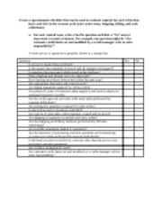 Create a questionnaire checklist that can be used to evaluate controls for each of the four basic ac