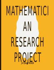 Mathematician Research Project