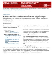 Article- Some Frontier-Markets Funds Face Big Changes