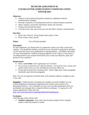 Cover Letter Assignment #2