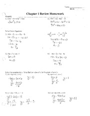 Chapter 1 Review Homework Answers