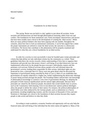 Foundations for an Ideal Society Essay