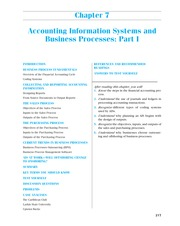 CHAPTER 7 Accounting Information Systems and Business Processes; Part I