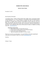 Survey Cover letter- Written Assignment 3 Revised