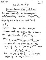 lecture 24 (Power series Computations)