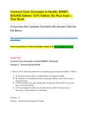 Connect Core Concepts in Health, BRIEF, BOUND Edition 16Th Edition By Paul Insel – Test Bank.docx