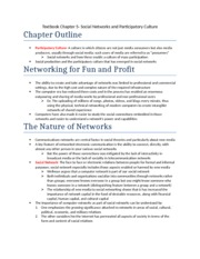 Textbook Chapter 5- Social Networks and Participatory Culture
