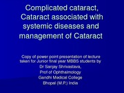 Management of cataract
