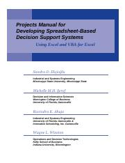 Developing Spreadsheet-based Decision Support Systems Pdf