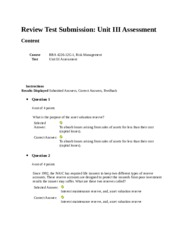 Review Test Submission Unit III Assessment