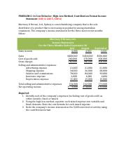 Chap 2 P 16 Cost Behavior, High-Low Method, Contribution Format Income Statement