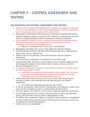 CHAPTER 9 – CONTROL ASSESSMENT AND TESTING