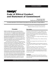 Ethics  Code Position Statement2011