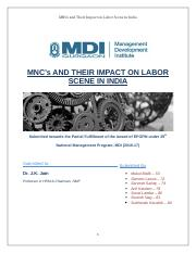 Multinationals and Their Impact on Labour Scene in India_final2