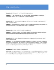 FAQ Critical Thinking