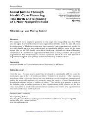 Social justice through healthcare financing NVSQ