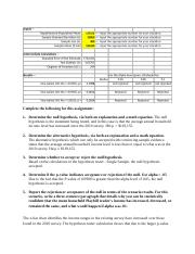 MBA 6018 Assignment 3 - Hypothesis Testing Using One Sample.docx