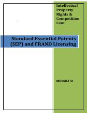 Module 6 - Standard_essential_patents_and_FRAND_Licensing