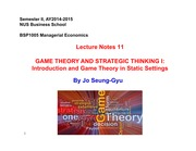 BSP1005 Lecture Notes 11 - Game Theory I - Strategic Thinking in Static Games