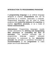 (Lecture 1) Introduction programming paradigm