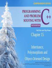 CSC 511 - 01 - CHAPTER 15 - INHERITANCE, POLYMORPHISM, & OBJECT-ORIENTED DESIGN