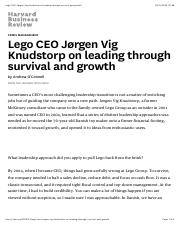 Lego CEO Jørgen Vig Knudstorp on leading through survival and growth