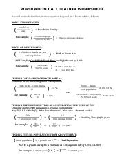 Population Calculation Worksheet Doc Population Calculation