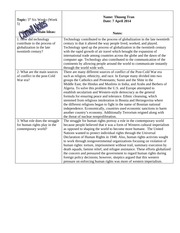 W HIST Cornell Notes- Technology, Human Rights, Post Cold War