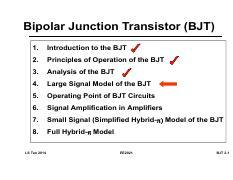 3 BJT 2 - Bipolar Junction Transistor(BJT 1 Introduction to