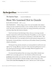Cavanagh - How We Learned Not to Guzzle - The New York Times