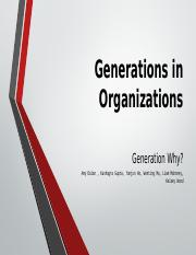 Generations in Organizations