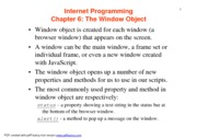Lecture 6 - The Window Object