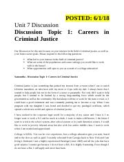 Unit 7 Discussion - Topic 1- Careers in Criminal Justic.docx