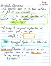 MATH 1112 Fall 2013 Definition of Natural Logarithms Lecture Notes