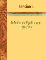 Session 1-Def n Significance of leadership  (1)