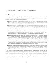 Numerical Method in Finance