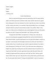Creative Poem Reflection Essay